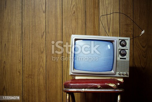 An old black and white TV