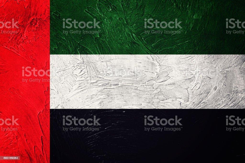 그런 지 UAE 플래그입니다. 그런 지 텍스처와 아랍 에미리트 플래그입니다. royalty-free 스톡 사진