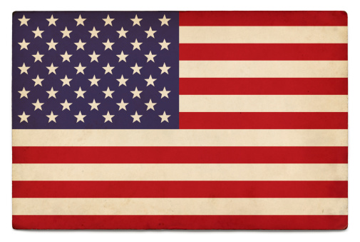 US flag layered on grungy, postcard-sized old paper with added vintage effects. Accurate clipping path.