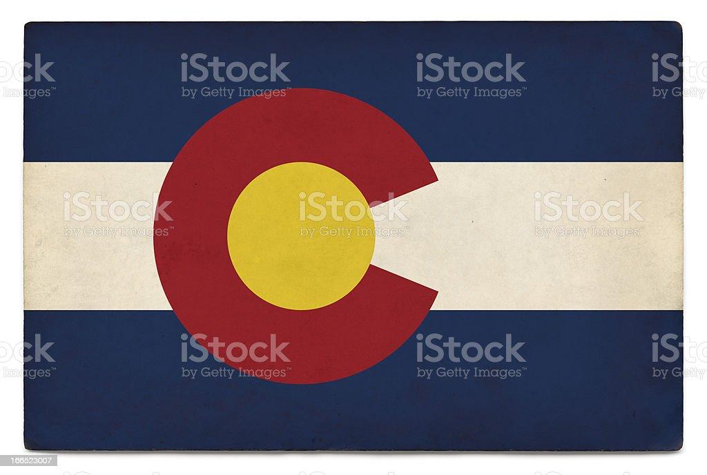 Grunge US state flag on white: Colorado stock photo