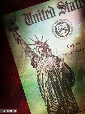 Grunge US Treasury check relief payment or IRS refund