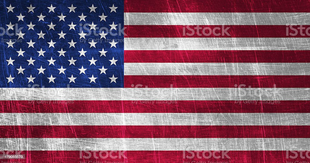 Grunge USA Flag on Metallic Texture stock photo