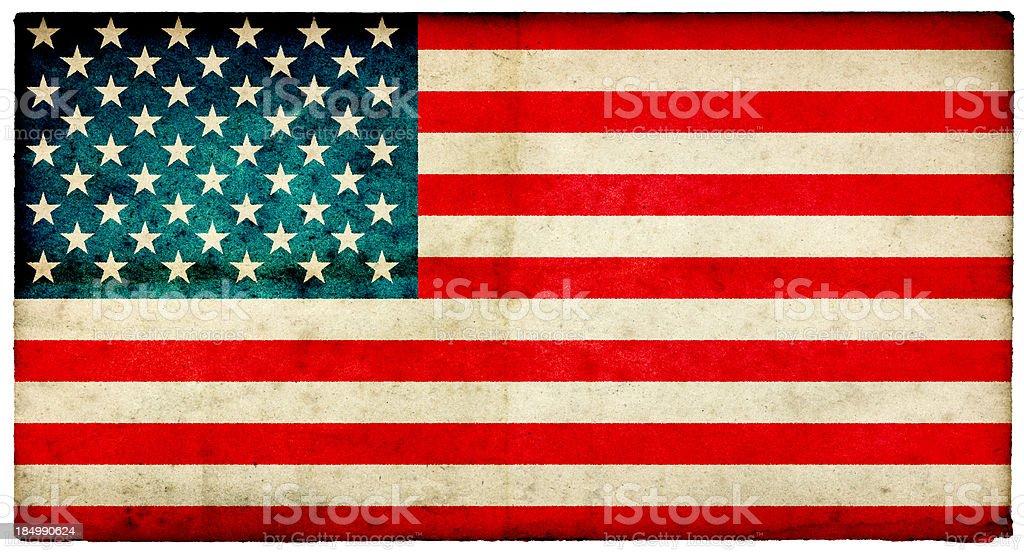 Grunge USA Flag on rough edged old postcard royalty-free stock photo