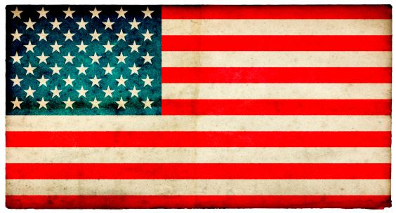 Grunge USA Flag on rough edged old postcard - part of a full range of ephemera for the 2012 London Games