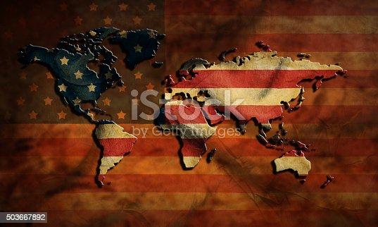 istock grunge USA map and flag 503667892
