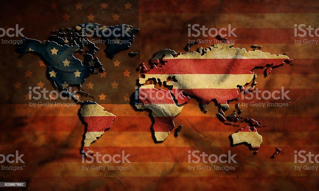 grunge USA map and flag stock photo