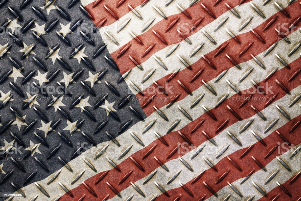Grunge vintage American US flag over old metal stock photo
