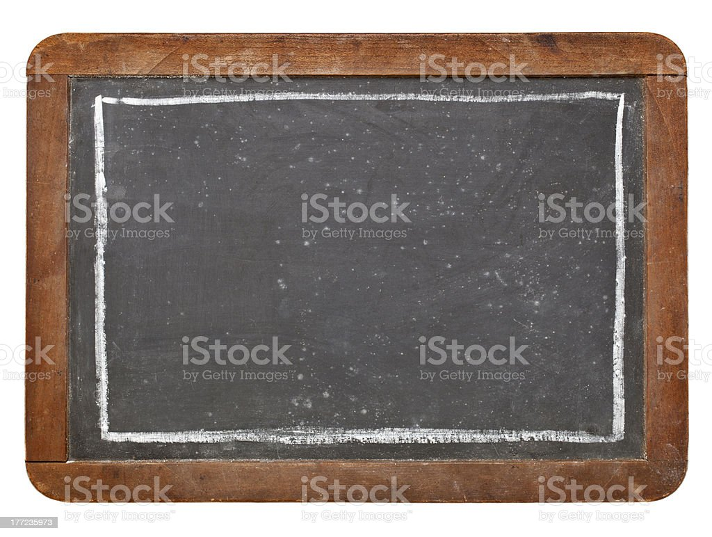 Grunge vintage blackboard with a rectangle border royalty-free stock photo