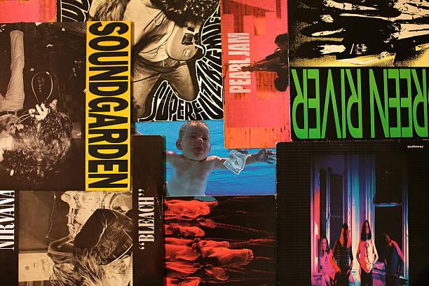 Grunge Vinyl Records stock photo