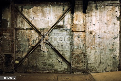 istock Grunge Wall of an Abandoned Industrial Interior 185105572