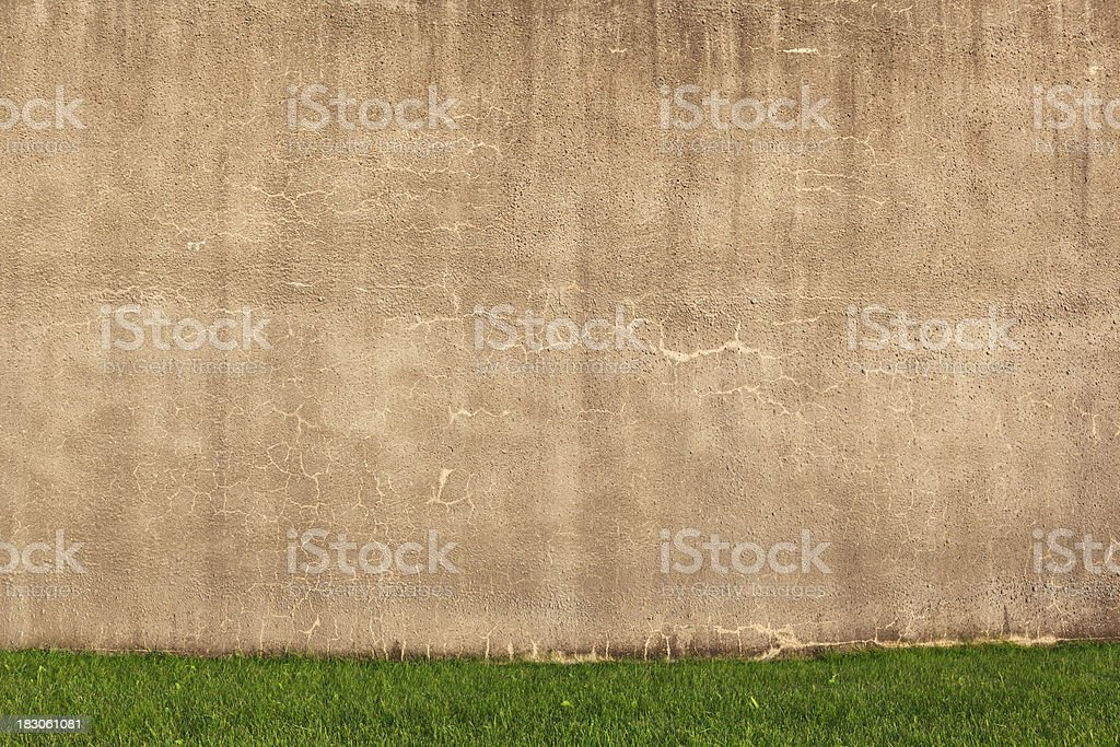 Grunge Wall on grass royalty-free stock photo