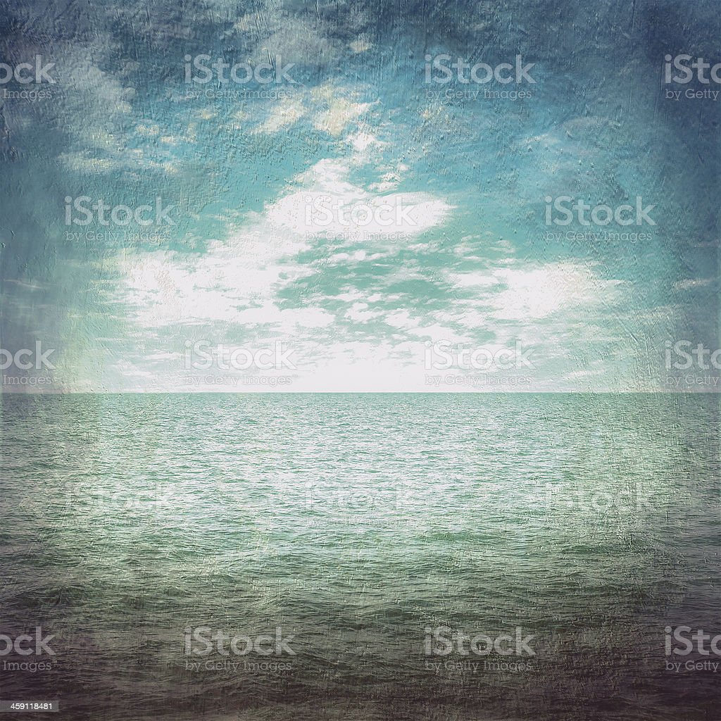 grunge wallpaper sea and blue sky with cloud vintage stock photo