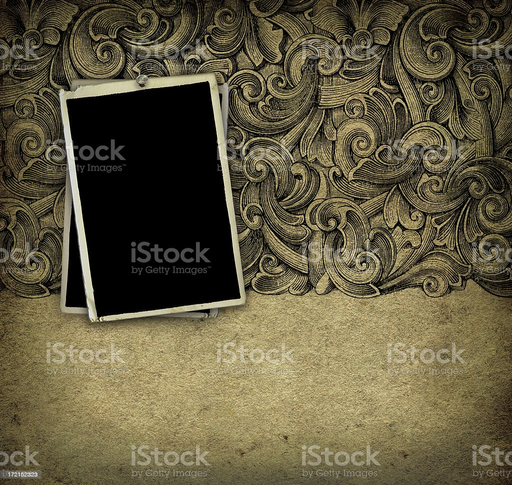Grunge Wallpaper with Photo Frames royalty-free stock photo