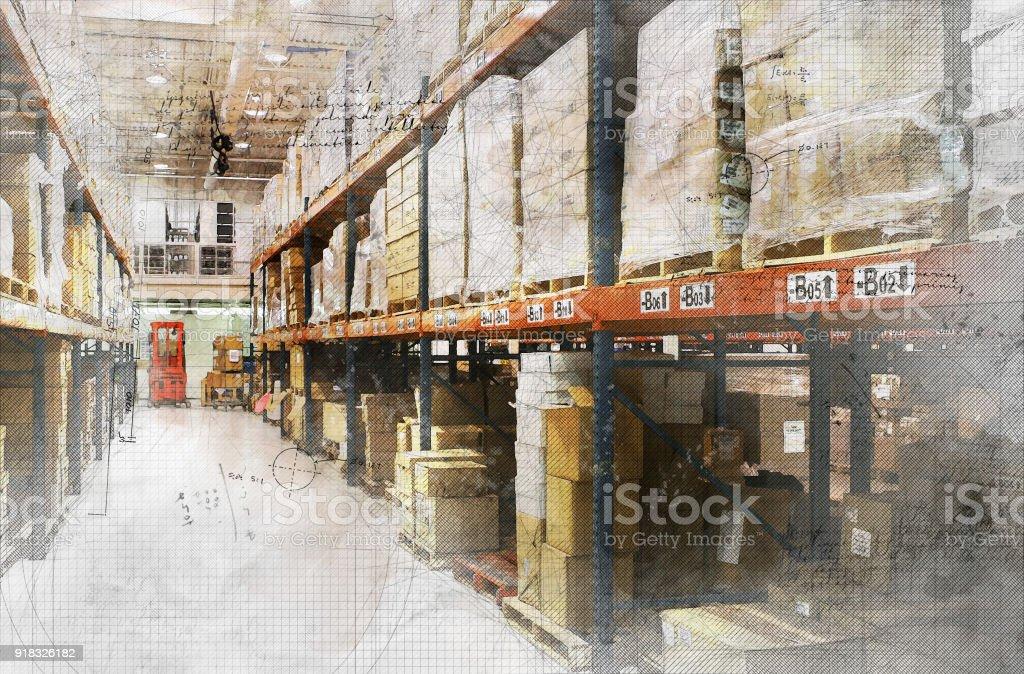 Grunge Warehouse stock photo