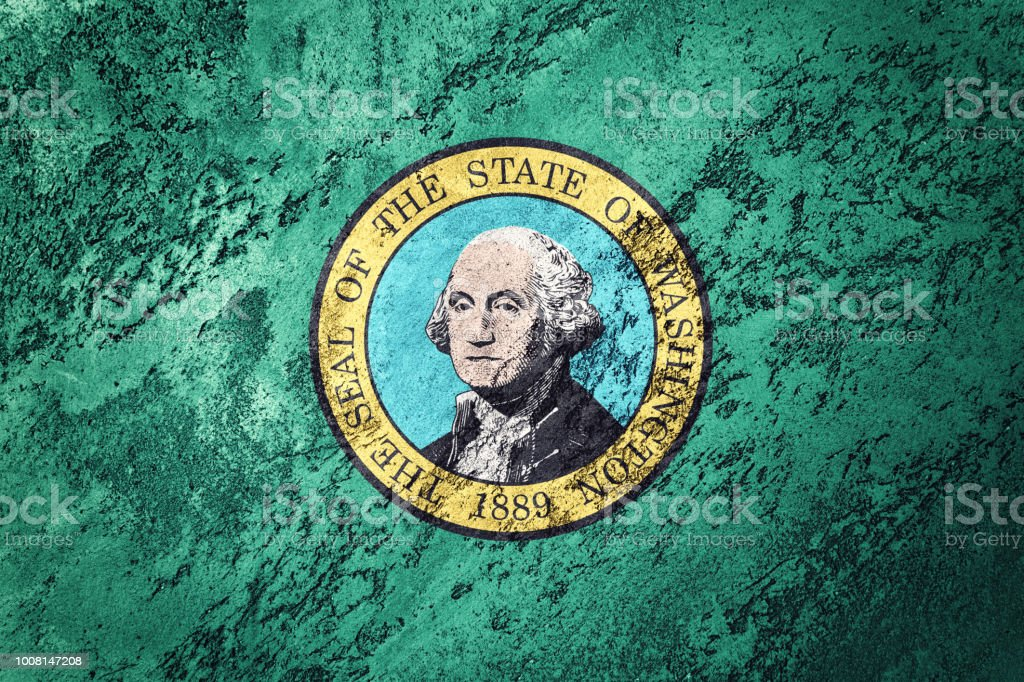 Grunge Washington Staatsflagge. Washington-Flag Grunge Hintergrundtextur. – Foto