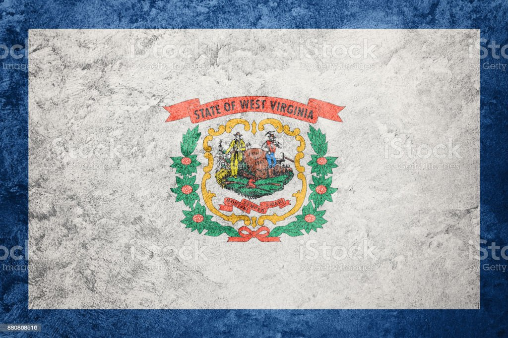 Grunge West Virginia state flag. West Virginia flag background grunge texture. stock photo