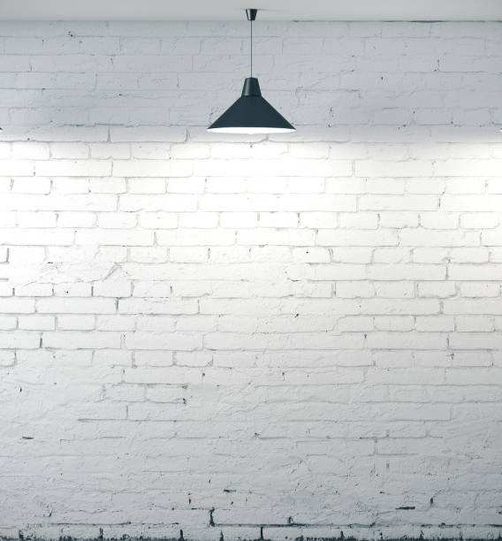 Grunge white brick wall stock photo
