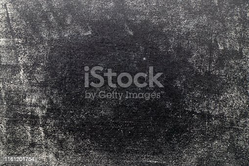 istock Grunge white color chalk texture on black board background 1161201754