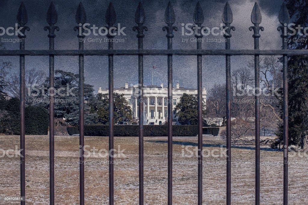 Grunge White House stock photo
