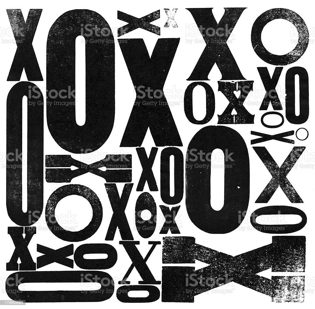 XO X O - Grunge wood type hugs and kisses royalty-free stock photo