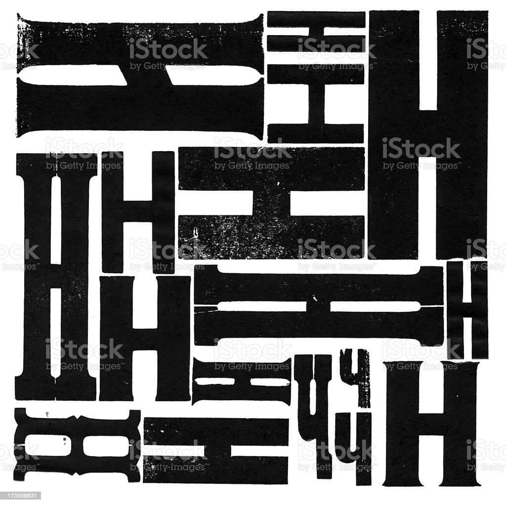 Grunge Wood Type Letter H Variations royalty-free stock photo