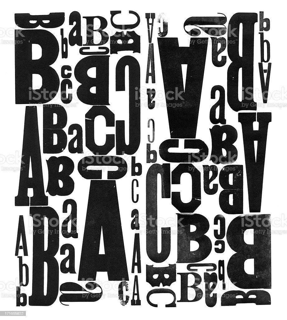Grunge Wood Type Letters A B C royalty-free stock photo