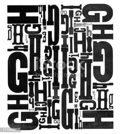 Antique wood type letters GHI letterpress printed by hand.  Cut them out and assemble your own type collage or message! Part of a series. More in my