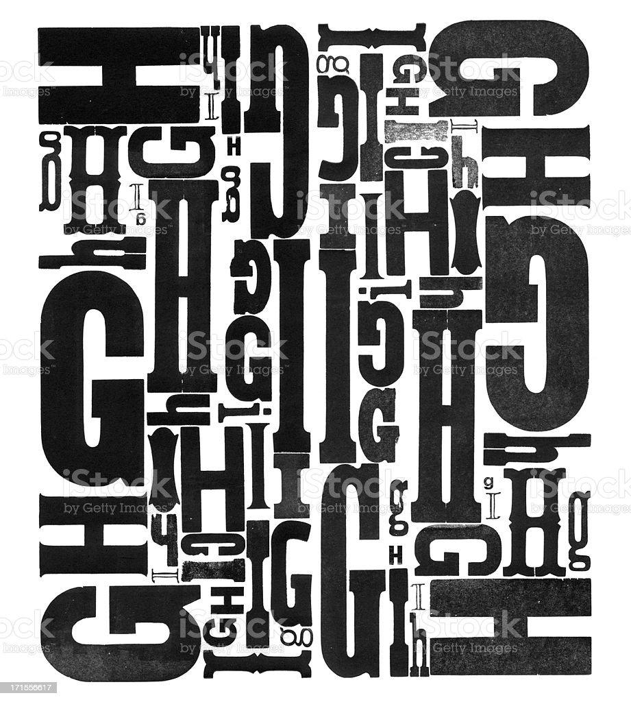Grunge Wood Type Letters G H I stock photo