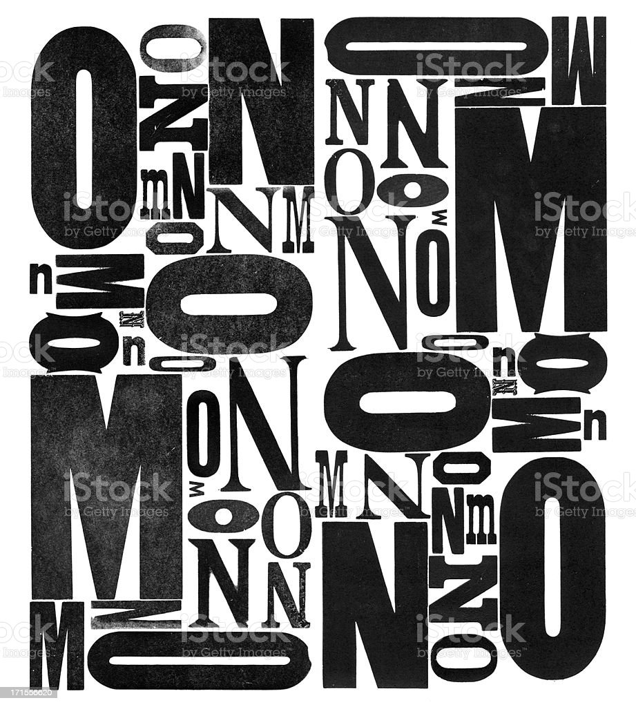 Grunge Holz Typ Buchstaben M N O – Foto