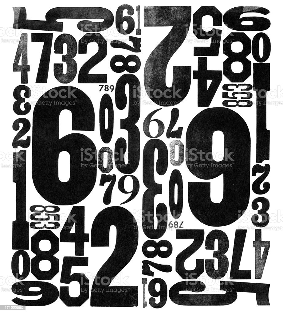 Grunge Wood Type Numbers 0123456789 stock photo