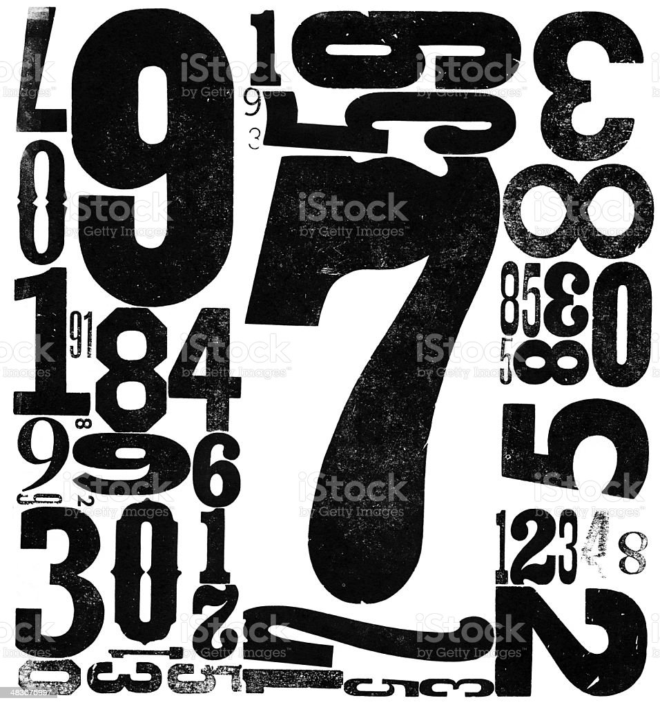 Grunge Wood Type Numbers 0123456789 royalty-free stock photo
