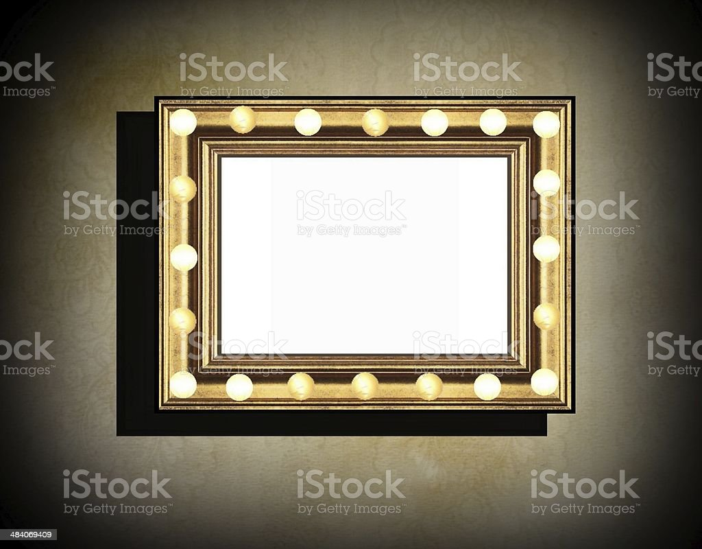 Grunge wooden frame  on  beige  old dirty wall stock photo