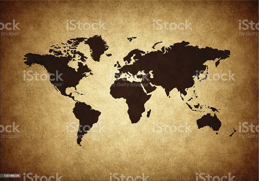Grunge world map in brown colors royalty-free stock photo