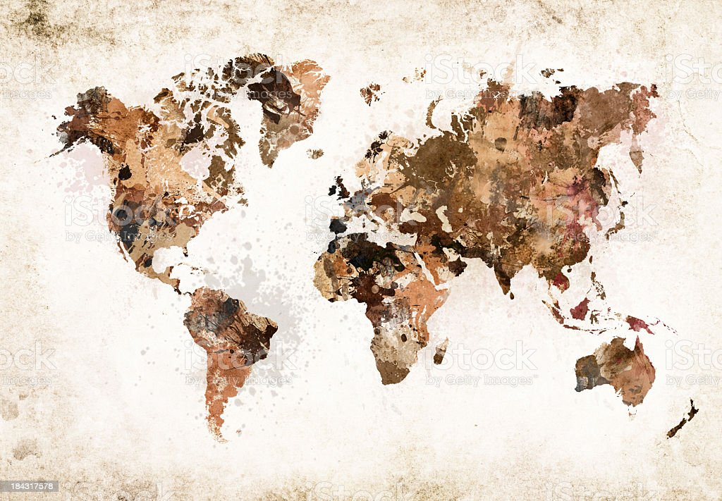 Grunge World Map XXXL stock photo