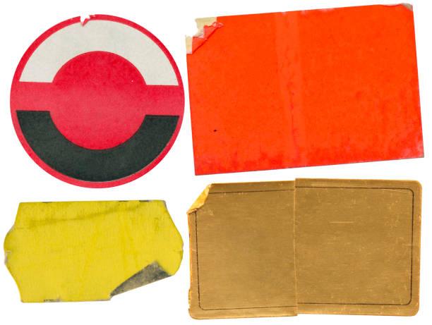Grunge Klebstoff Preisaufkleber, Preisschilder, mit freiem Kopierplatz, isoliert auf weißem Hintergrund – Foto
