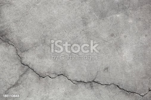 grungy urban abstract close up detail of concrete with cracks damage creates background texture.  horizontal composition in gray hues.