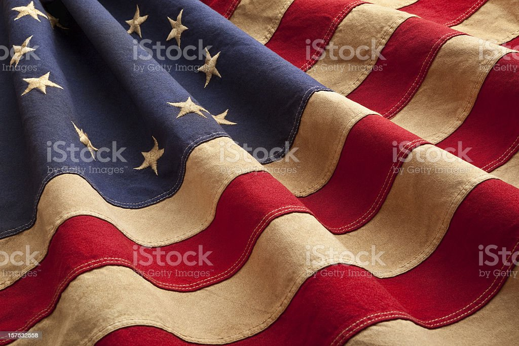 Grungy Betsy Ross Flag With Thirteen Stars and Stripes royalty-free stock photo