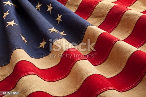 This American flag, popularly attributed to Betsy Ross, was designed during the American Revolutionary War features 13 stars to represent the original 13 colonies. According to the legend, the original Betsy Ross flag was made on July 4, 1776.