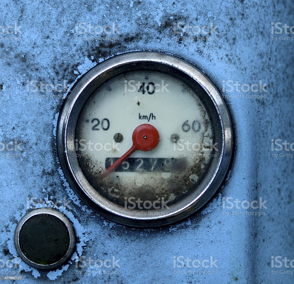 Grungy Blue Odometer royalty-free stock photo