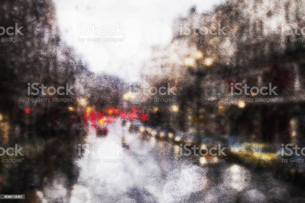 grungy bokeh background of road traffic in urban city stock photo