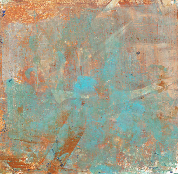 Grungy brown and turquoise mixed media texture stock photo