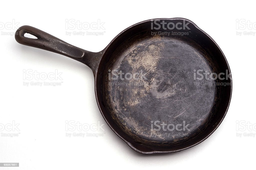 Grungy Cast Iron Skillet stock photo
