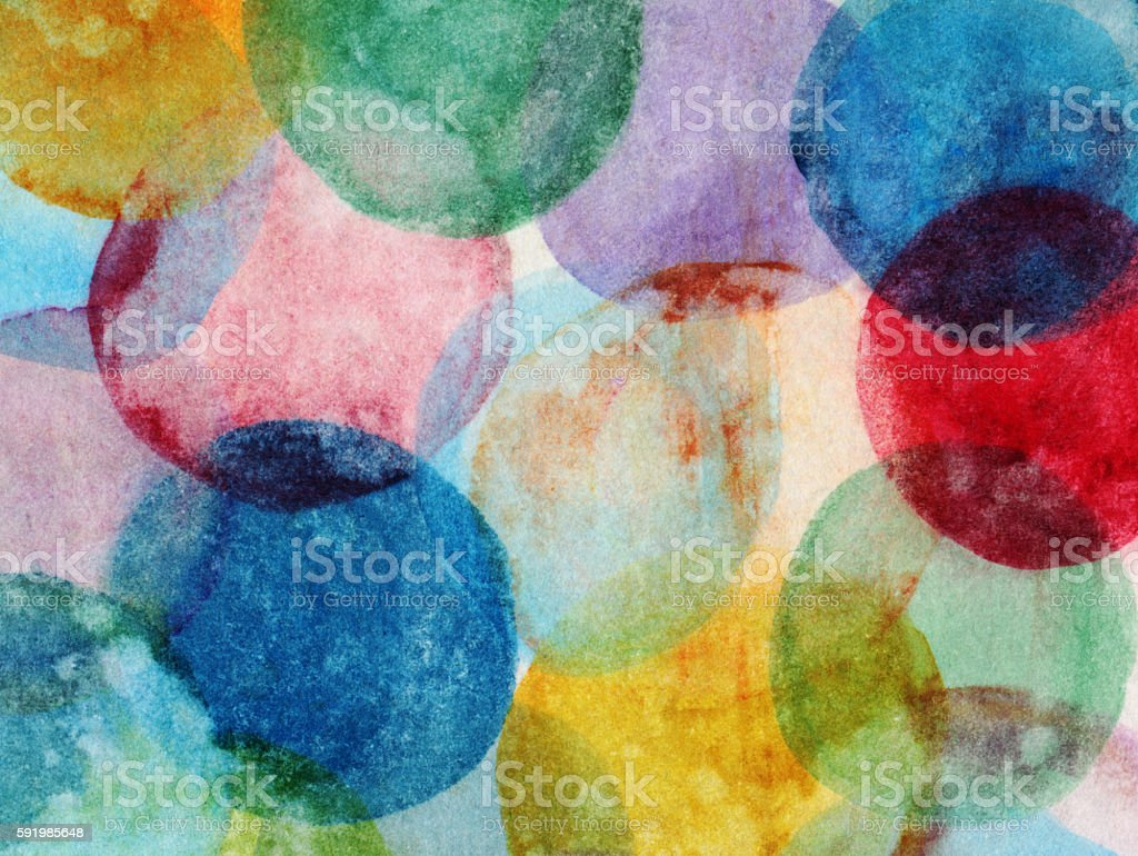Grungy circles hand painted with watercolors and inks – Foto
