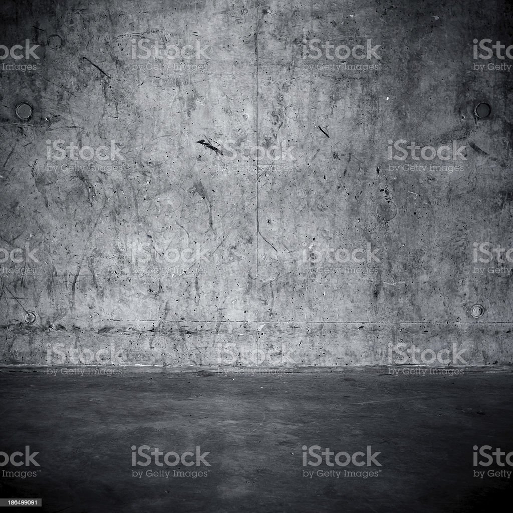 Grungy concrete wall and floor stock photo
