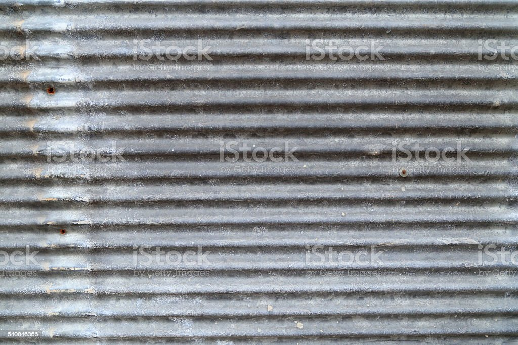 Grungy corrugated iron wall, dirty metal texture. stock photo