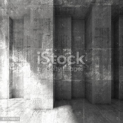 istock Grungy dark concrete wall background. 3d 512749312