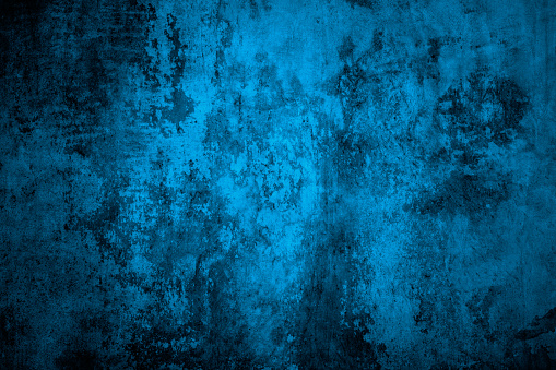 Old Stained Concrete Wall Toned In Blue With Peeling Paint. Over 200 More Grunge & Abstract Backgrounds: