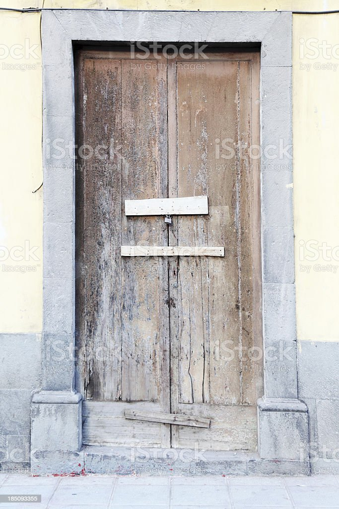 grungy door in historic part of Las Palmas royalty-free stock photo