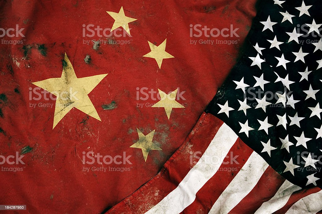 Grungy Flags of China and USA stock photo