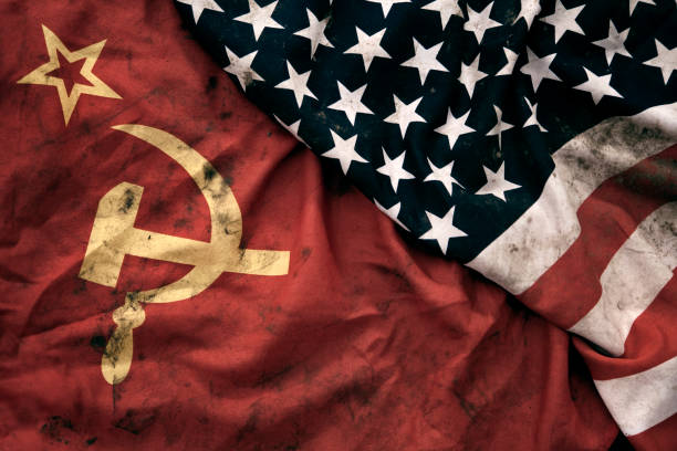 grungy flags of soviet union and usa - russia stock pictures, royalty-free photos & images
